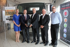 From left to right: Jennifer Fitzsimmons, Director of People and Culture (Humberview Group), Eric Smith, Senior Vice President, Sales and Customer Support (HMC), John Esplen, Dealer Principal (Tri Truck Centre), Rick Howitt, General Manager (Tri Truck Centre), Kevin James Reason, Central Region Sales Manager (HMC)