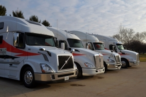 The Redefining Tour Fleet: We drove all the trucks except the Volvo. The ProStar had the fuel-efficient version of the new X15, and the Peterbilt had the performance version. The Kenworth had a current engine for comparison.