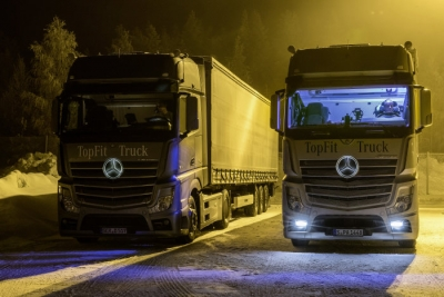 Eight test truck drivers were examined for the benefits of artificial daylight in their truck cabs. Photo courtesy of Daimler.