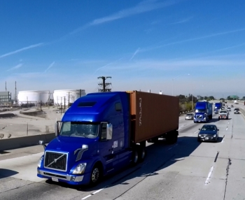 As the platoon made its way down the California highway, staged and unplanned vehicle cut-ins showed the technologies ability to handle common traffic scenarios. Photo courtesy of Volvo