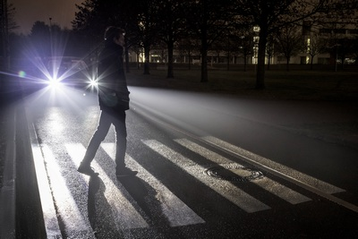 The Mercedes-Benz digital headlamp system can project a zebra crossing on the road to assist pedestrians and warn other drivers