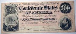 Scarce Confederate $500 Note 1864  Near Unc