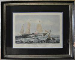 'The Steam Ship President' Hand Colored Engraving