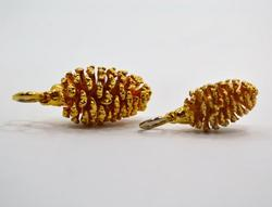 Two (2) Gold Dipped Natural Mini Pine Cone Pendants