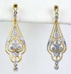 2-Tone Gold Filigree & Diamonds Drop Earrings