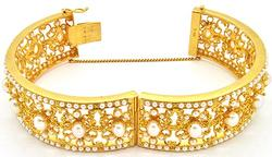 High quality 22kt gold heavy pearl bangle