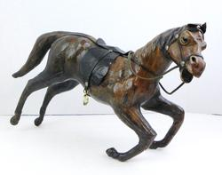 Vintage Large Leather Horse with Glass Eyes