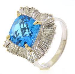 Ladies 14kt Gold Large Blue Topaz & Diamond Ring