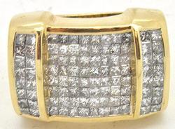 Heavy Gents 14kt Gold 4ctw Diamond Ring, Phenomenal!