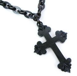 Victorian Gutta Percha Mourning Cross & Link Chain