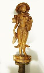Finest Detail Large Hand Carved Wooden Sculpture