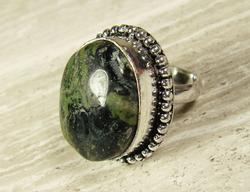 FASCINATING ETHNIC HANDCRAFTED GEMSTONE SILVERTONE RING