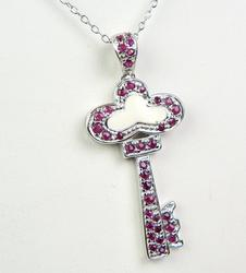 Sterling Key Pendant of Pave Rubies & Chain