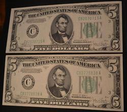 2 1934 C $5 Frn Notes Philadelphia One Crisp Cu One Ch Au
