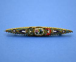 Vintage Italian Millefiori Mini Mosaic on Brass Brooch