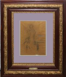 RARE ORIGINAL LOUIS ICART CHARCOAL DRAWING WITH PASTEL