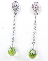 14K Briolette Peridot & Diamond Drop Earrings