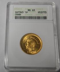 Sharp  Iran MS 63 Gold Pahlevi Sh 1345 ANACS holdered