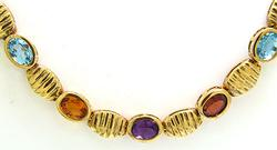 Gemstone Necklace with Amethyst, Garnet, Topaz, Citrine