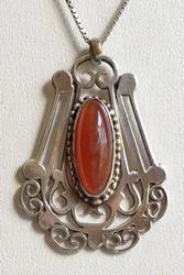 Remarkable Art Nouveau Sterling & Carnelian Pendant Necklace