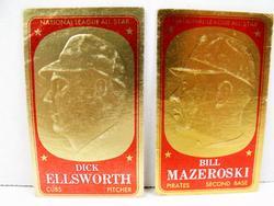 2 Vintage Gold Foil All-Star Baseball Cards