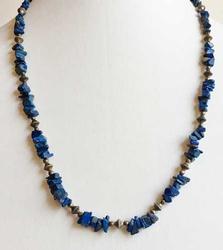 Amazing, Long, 'Blue Lapis' Stone Nugget Necklace