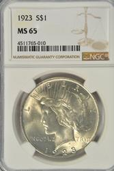 Gem BU 1923 Peace Silver Dollar. NGC MS65