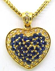 Great Condition 14kt gold, Sapphire, and Diamond Pendant Necklace