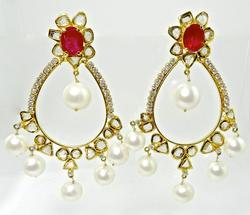 Spectacular Diamond, Ruby, & Pearl Earrings