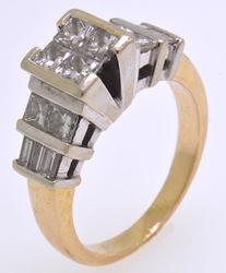 Striking Princess and Baguette Diamond Ring