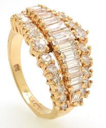 Three Row Round and Emerald Cut 1.25 ctw Diamond Ring