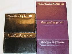 Five Proof Sets - 1978, 1979, 1986, 1987, 1989
