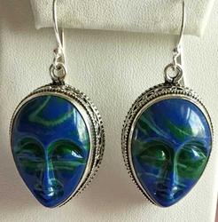 Exotic, Blue Stone Carved 'Face' on Sterling Pierced Earrings