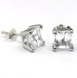 1ctw White Topaz Sterling Earrings