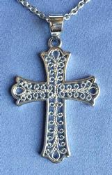 Heavenly, Delicate Filigree Sterling 'Cross' Necklace