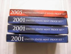 Four Proof Sets  includes  3 x 2001  and an 2005 Silver