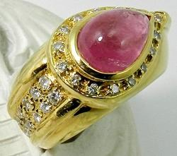 Ladies 18kt Gold Pink Tourmaline & Diamond Ring
