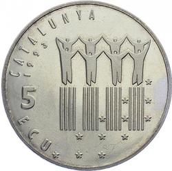 Spain Catalunya 5 Ecu 1993 Medal