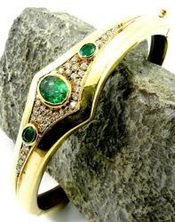 High-End Emerald and Diamond 18K Bangle