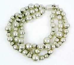 Mexican 3-Strand Sterling Ball Bracelet