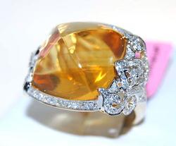 Huge Citrine & Diamond Ring In 14kt Gold