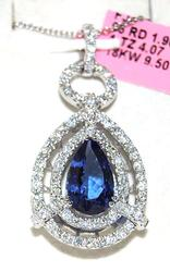 18kt Gold Tanzanite & Diamond Pendant, 5+ctw