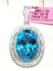 27+ctw Blue Topaz & Diamond Pendant, 14kt Gold
