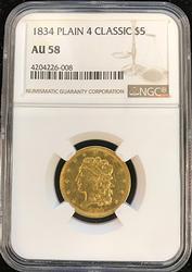 Rarity 1834 $5 Classic Head Half Eagle, NGC AU58
