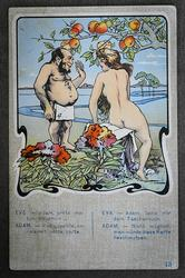 Funny Card Adam and Eve, XX Century, Europe