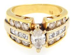 Heavy Gold 1+ctw Diamond Multi-Row Ring