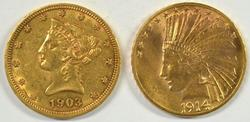Great pair of US $10 Gold Pieces: Liberty & Indian