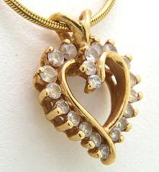 Heart Shaped Diamond Pendant Set in 14kt Gold