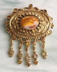 Regal, Gold With Marbled Stone, Ornate Pin Brooch