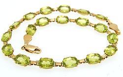Elegant Ladies 10kt Gold Peridot Bracelet